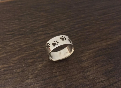 Four Paws Ring Solid Sterling Silver 925 Flat Shape  6mm wide